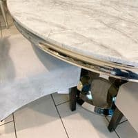 Round Marble Grey Dining Table 1.3m + 4 Chairs